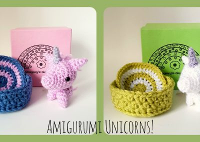 A couple of amigurumi unicorns